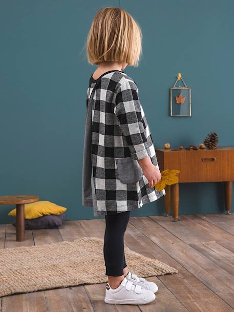 Girls' Dress & Leggings Set BLACK DARK CHECKS+BLUE DARK STRIPED+GREY LIGHT MIXED COLOR+PINK DARK ALL OVER PRINTED - vertbaudet enfant