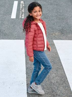 T-shirts-Light Padded Jacket with Hood, for Girls