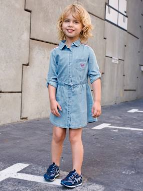 Vertbaudet Sale-Girls-Dresses-Light Denim Dress for Girls