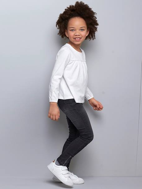 Tregging fille en denim ultra-stretch tour de hanches LARGE Denim noir+Double stone - vertbaudet enfant