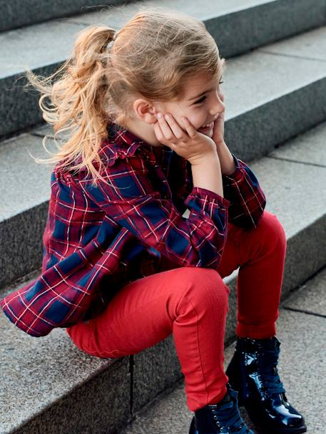 Chequered Blouse for Girls RED DARK CHECKS - vertbaudet enfant