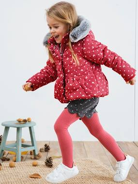 Outlet-Printed Padded Jacket with Fleece Lining, for Girls