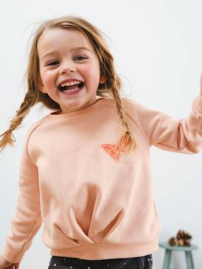 Vertbaudet - Collection maternelle : t shirt réversible, vêtements enfant-Fille-Sweat fille en molleton effet noué