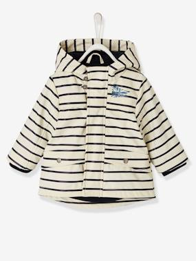 Vertbaudet Sale-Baby-Outerwear-Striped Raincoat for Baby Boys