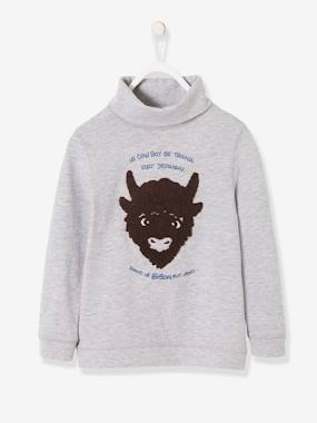 Boys-Tops-Roll Neck T-Shirts-Sweatshirt with Furry Bison for Boys