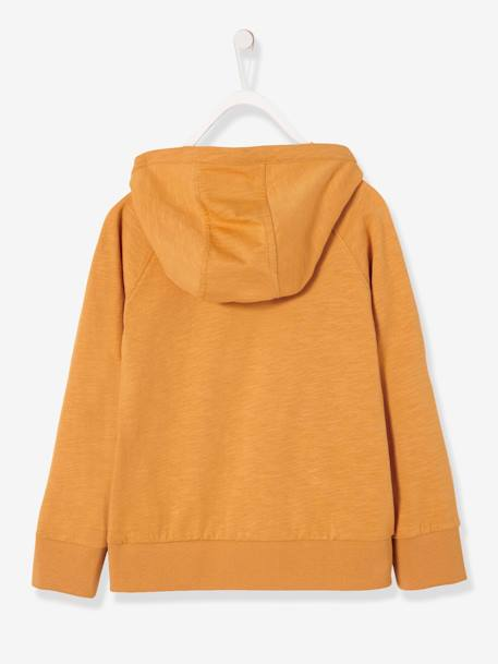 Hooded Top for Boys BLACK DARK SOLID WITH DESIGN+ORANGE MEDIUM SOLID WITH DESIG+WHITE LIGHT SOLID WITH DESIGN - vertbaudet enfant