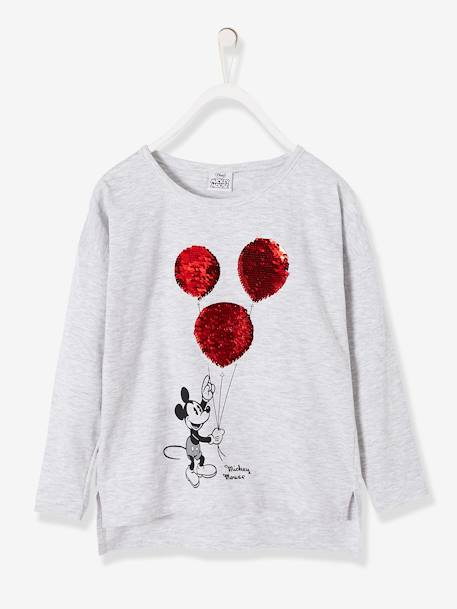 Printed Mickey® Top with Reversible Sequins GREY LIGHT SOLID WITH DESIGN - vertbaudet enfant