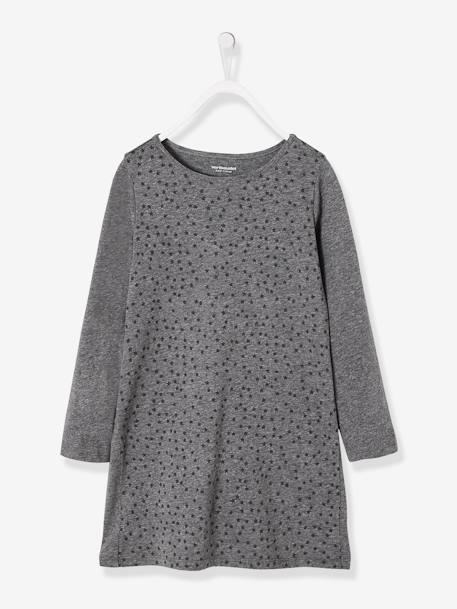 Girls' Dress in Jersey Knit BLUE DARK ALL OVER PRINTED+BLUE MEDIUM ALL OVER PRINTED+GREY MEDIUM  ALL OVER PRINTED+GREY MEDIUM MIXED COLOR+RED DARK ALL OVER PRINTED+RED LIGHT ALL OVER PRINTED - vertbaudet enfant