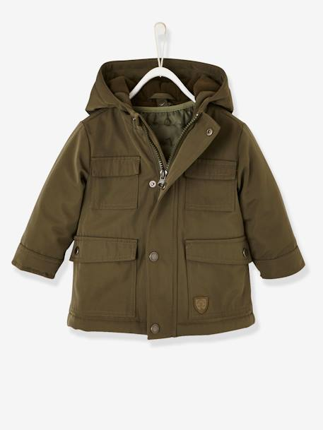 3-in-1 Progressive Parka for Baby Boys BLUE DARK SOLID+GREEN DARK SOLID - vertbaudet enfant