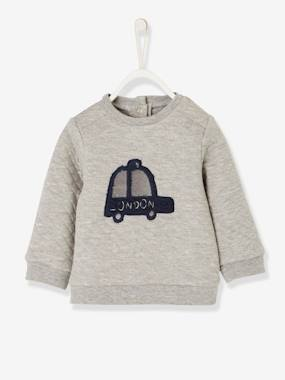 Baby-Cardigans & Sweaters-Fleece Sweatshirt with Topstitching for Baby Boys