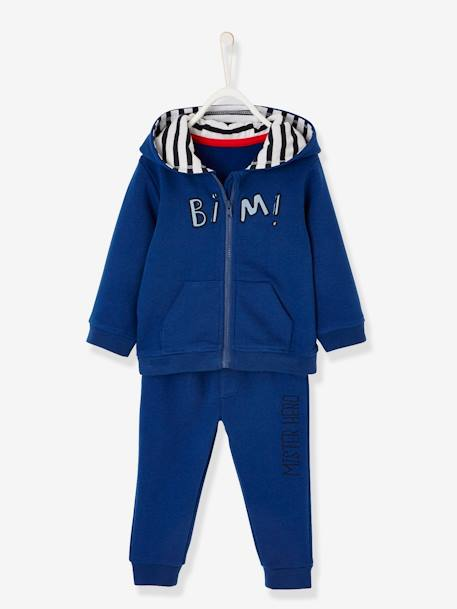 Sports Zipped Jacket & Trouser Set BLUE BRIGHT SOLID WITH DESIGN - vertbaudet enfant