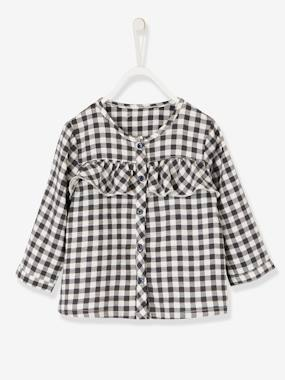 Baby-Blouses & Shirts-Chequered Blouse with Frills for Baby Girls