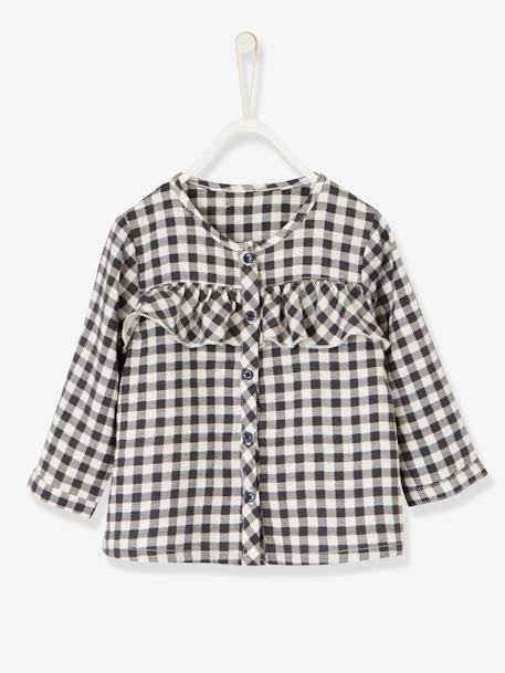 Chequered Blouse with Frills for Baby Girls BLACK DARK CHECKS - vertbaudet enfant