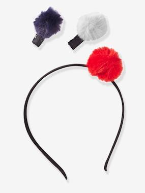 Black Friday-Girls-Alice Band & Hair Clips with Pompoms, for Girls