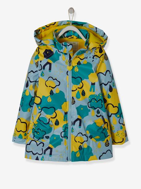 Hooded Raincoat with Fleece Lining for Girls RED DARK SOLID WITH DESIGN+YELLOW MEDIUM 2 COLOR/MULTICOL - vertbaudet enfant