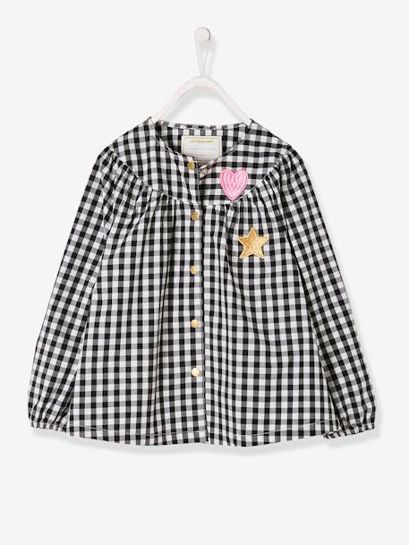 Smock for Girls BLACK DARK CHECKS+RED LIGHT SOLID WITH DESIGN - vertbaudet enfant