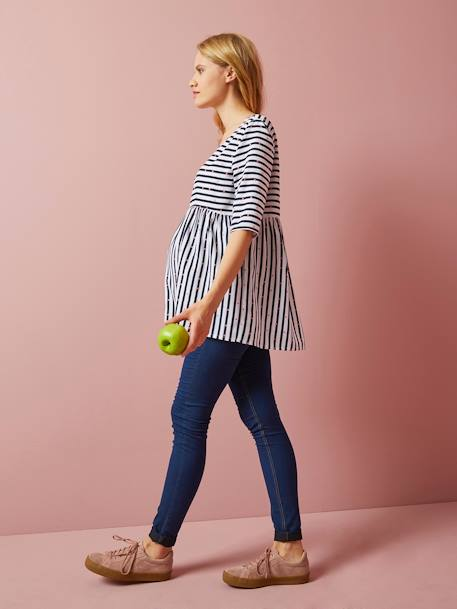 Denim-Look Maternity Treggings BLUE DARK SOLID+GREY MEDIUM WASCHED - vertbaudet enfant