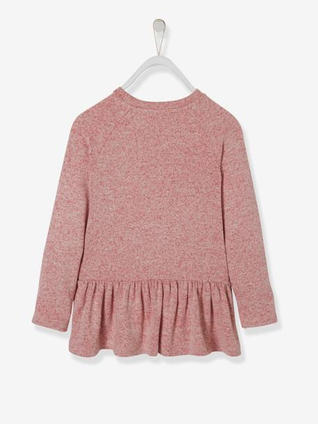 Jumper with Frills for Girls GREY MEDIUM SOLID WITH DESIGN+PINK DARK SOLID WITH DESIGN - vertbaudet enfant