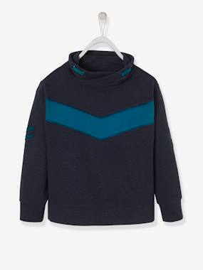 Vertbaudet Sale-Boys-Cardigans, Jumpers & Sweatshirts-Colour-block Sweatshirt for Boys with Reflective Patch
