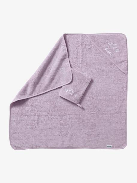 Bath Cape + Wash Mitt BEIGE LIGHT SOLID+BLUE MEDIUM SOLID+GREY LIGHT SOLID+PINK LIGHT SOLID+PURPLE MEDIUM SOLID+WHITE LIGHT SOLID - vertbaudet enfant