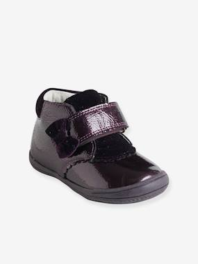 Shoes-Patent Leather Boots with Touch 'n' Close Fastening for Girls
