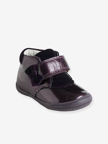 Patent Leather Boots with Touch 'n' Close Fastening for Girls PURPLE DARK SOLID - vertbaudet enfant