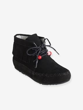 Shoes-Girls' Leather Boots, with Embroidery & Fringes