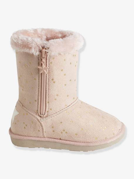 Girls' Boots with Fur BEIGE LIGHT METALISED+BLACK DARK SOLID+BROWN MEDIUM ALL OVER PRINTED+PINK LIGHT ALL OVER PRINTED - vertbaudet enfant