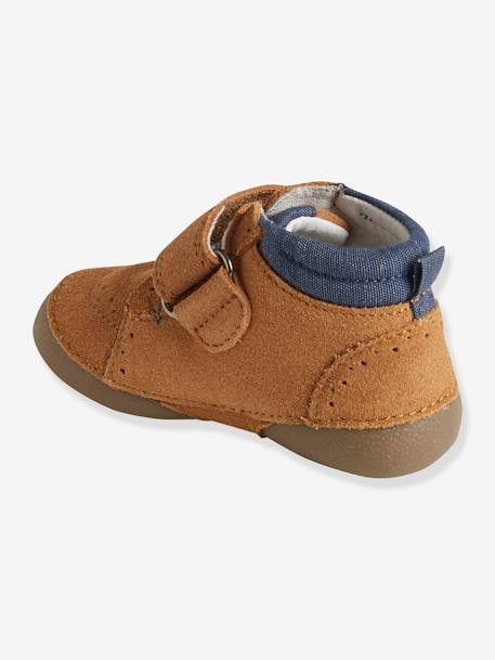 Soft Leather Shoes with Touch 'n' Close Fastening for Babies BEIGE MEDIUM SOLID - vertbaudet enfant