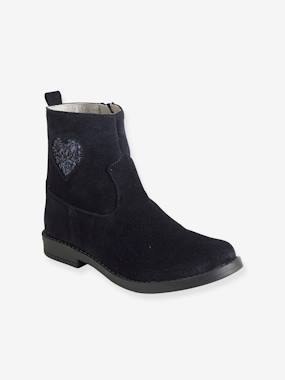 Chaussures-Chaussures fille 23-38-Boots, bottines-Boots cuir fille coeur paillettes
