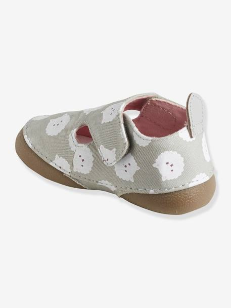 Shoes in Printed Fabric for Babies GREY LIGHT GREYED - vertbaudet enfant