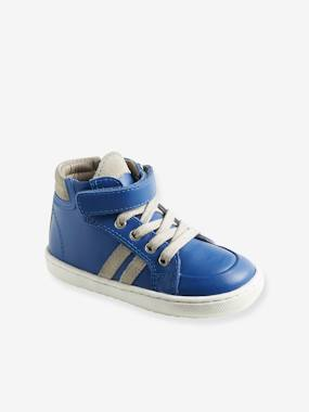 Vertbaudet Sale-Shoes-High Top Leather Trainers with Laces for Babies