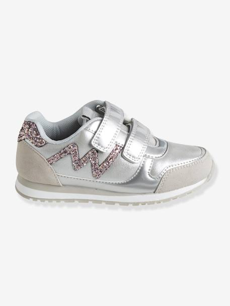 Girls' Glittery Trainers with Touch 'n' Close Tabs BLUE DARK SOLID+GREY MEDIUM METALLIZED+GREY MEDIUM SOLID+PINK LIGHT SOLID - vertbaudet enfant