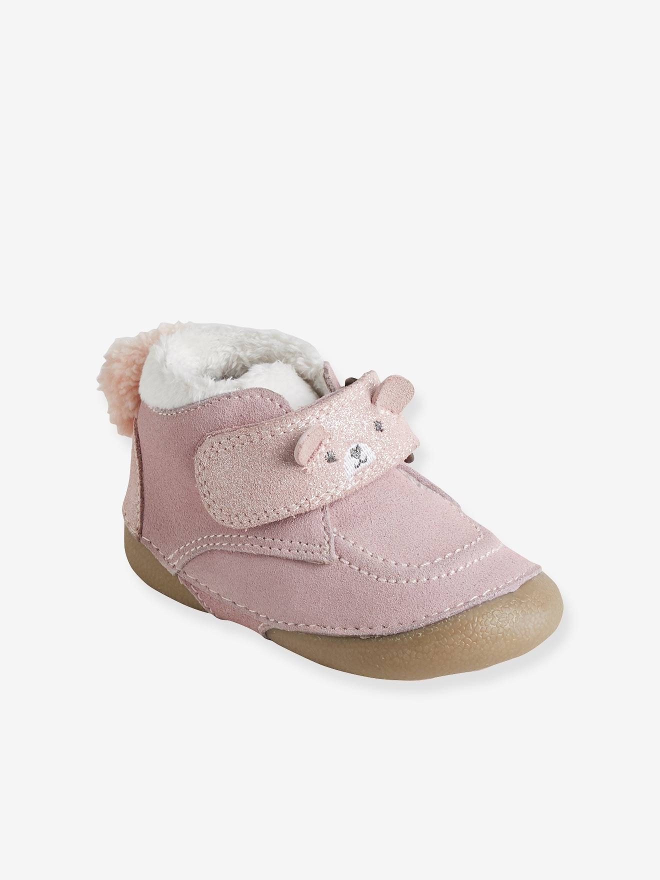 Soft Leather Shoes with Fur for Babies