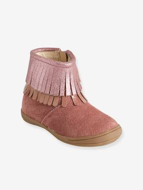 Vertbaudet Collection-Shoes-Baby Footwear-Girls' Leather Boots with Fringes