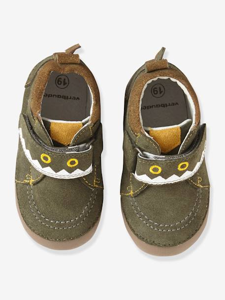 Fancy Soft Leather Shoes for Babies GREEN MEDIUM SOLID WITH DESIG - vertbaudet enfant