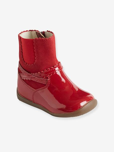Girls' Leather Boots with Elastic on the Side BLACK DARK SOLID+RED DARK SOLID+RED MEDIUM SOLID - vertbaudet enfant