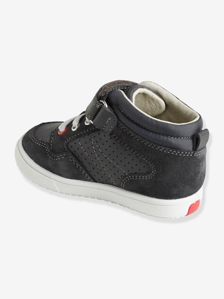 Boys' High-Top Trainers, in Leather GREY DARK SOLID+RED MEDIUM SOLID WITH DESIG+WHITE LIGHT SOLID - vertbaudet enfant