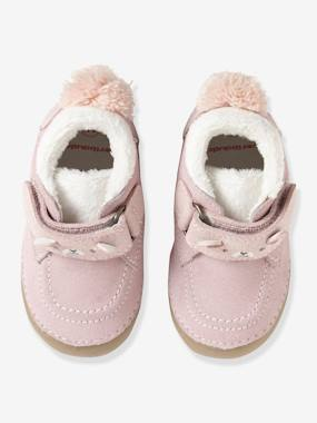 Shoes-Baby Footwear-Slippers & Booties-Soft Leather Shoes with Fur for Babies