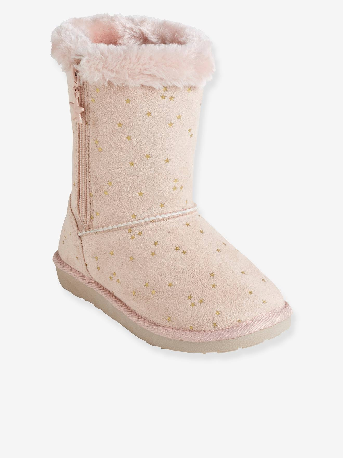 Baby Girls Light Pink Booties with Rose on Toes 5 Preemie and Newborn Sizes