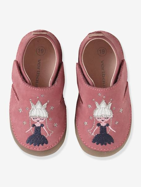 Soft Leather Shoes with Touch 'n' Close Fastening for Babies PINK MEDIUM SOLID WITH DESIG - vertbaudet enfant