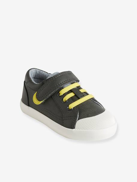 Boys' Trainers, Autonomy Collection BLUE MEDIUM SOLID+GREEN MEDIUM SOLID+GREY MEDIUM SOLID+WHITE LIGHT ALL OVER PRINTED - vertbaudet enfant