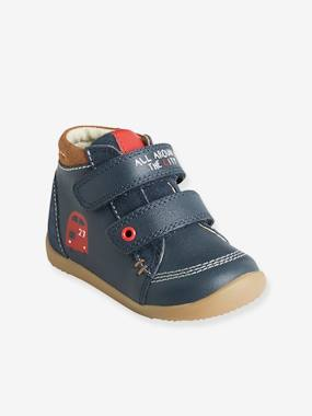Vertbaudet Sale-Shoes-Baby Footwear-Leather Boots with Touch 'n' Close Fastening for Boys, First Steps