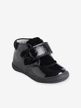 Vertbaudet Collection-Shoes-Baby Footwear-Patent Leather Boots with Touch 'n' Close Fastening for Girls