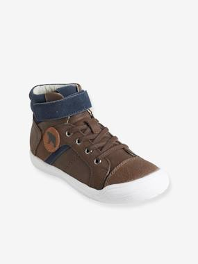 Vertbaudet Sale-Shoes-Boys Footwear-Leather Boots with Elasticated Laces for Boys