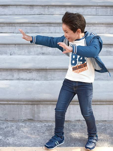 MEDIUM Fit- Boys' Slim Cut Jeans BLUE DARK SOLID+BLUE DARK WASCHED+GREY MEDIUM WASCHED - vertbaudet enfant