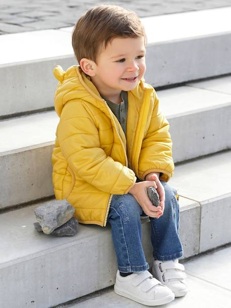 Babies' Lightweight Jacket with Stylish Hood BLUE LIGHT SOLID+RED BRIGHT SOLID+YELLOW DARK SOLID - vertbaudet enfant