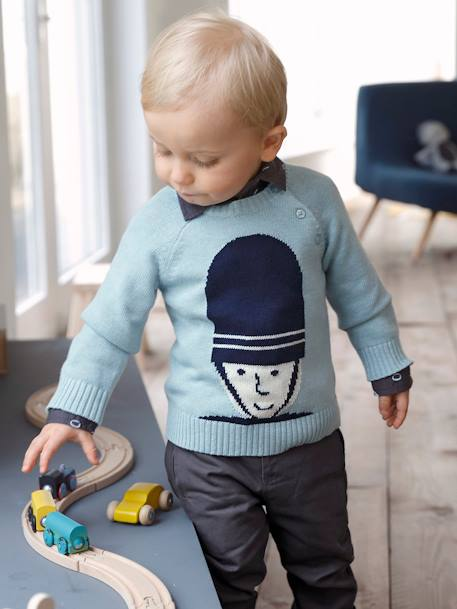 Jumper with Fabric Motif for Baby Boys BLUE LIGHT SOLID WITH DESIGN+YELLOW DARK SOLID WITH DESIGN - vertbaudet enfant
