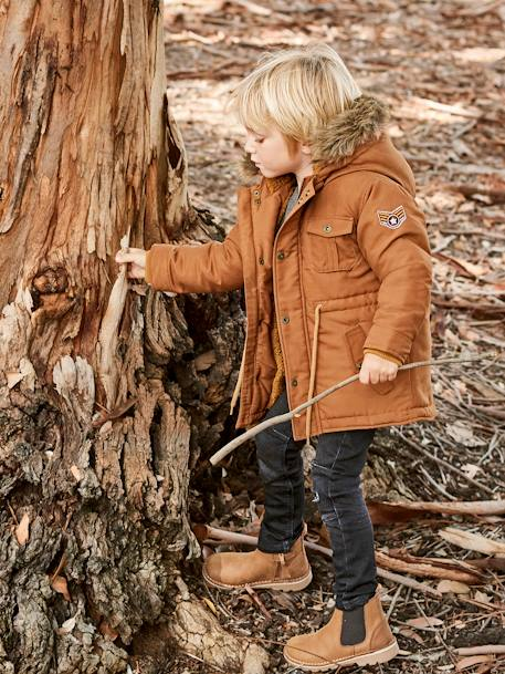 Plush-Lined Parka for Boys BLUE DARK SOLID WITH DESIGN+BROWN LIGHT SOLID WITH DESIGN+GREEN DARK SOLID WITH DESIGN - vertbaudet enfant