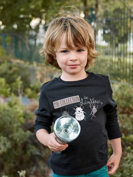 Top with Glow-in-the-Dark Print for Boys BLACK DARK MIXED COLOR - vertbaudet enfant